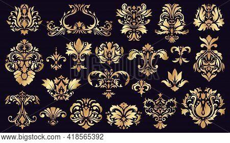Antique Damask Ornaments. Golden Baroque Rococo Decorative Floral Elements Isolated Vector Illustrat