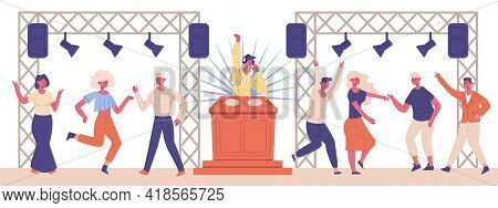 Dj Musical Party. Night Club Dancing Characters And Dj Characters Vector Illustration. Dj Music Danc
