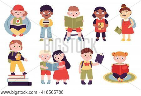Kids Reading Books. Reading Children, Boys And Girls Read For Learning And Entertainment. Elementary
