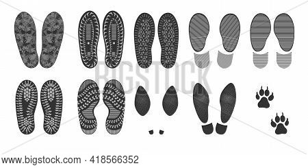 Footprints Of Human Shoes, Vector Set Of Silhouettes Isolated On A White Background. Shoe Soles Prin