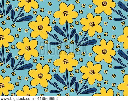 Flower Doodle Seamless Pattern Vector Background. Simple Childish Naive Hand Drawn Floral Backdrop.