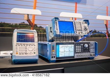 Moscow, Russia - June 05, 2019: Measurement Exhibition. Handheld Spectrum, Network, Cable, Antenna A