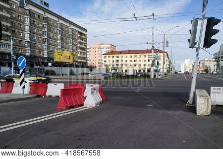 Belarus, Novopolotsk - September 29, 2020: No Entry Street With Barricade