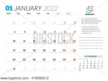 Corporate Design Planner Template For January 2022. Monthly Planner. Stationery Design. Week Starts