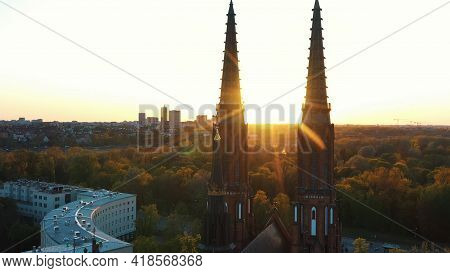 Warsaw, Poland 12.01.2020 - Front View Of Cathedral Of St. Michael The Archangel And St. Florian The