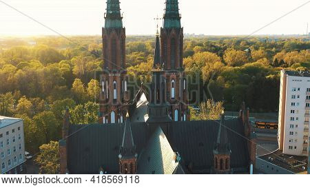 Warsaw, Poland 12.01.2020 - Back View Of Cathedral Of St. Michael The Archangel And St. Florian The