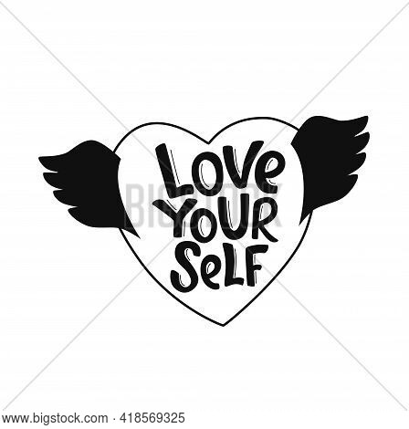 Feminist And Body Positive Vector Sticker. Love Your Self - Handwritten Phrase With Ribbon On Heart.