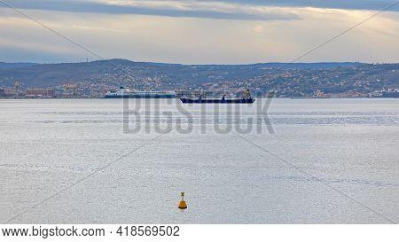 Cargo Ship In Front Of Trieste Port Italy Adriatic Sea