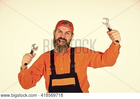 Mechanic With Spanner. Wrench Tool Fixing Tightening Details. Fix Car. Service And Engineering Conce