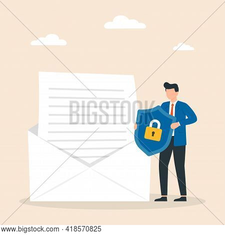 Concept Of Encryption Of Emails. Internet Data Protection, Business Assets Security System. Vector I