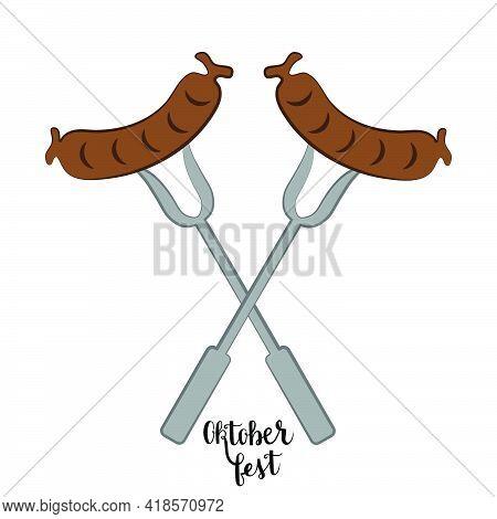 Oktoberfest Bratwurst On Forks With Lettering Vector On White Background