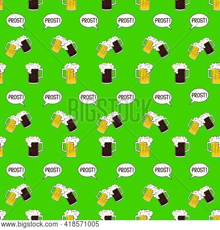 Oktoberfest Lager And Black Beer Mugs And Prost Bubble Speech Seamless Pattern On Green Background