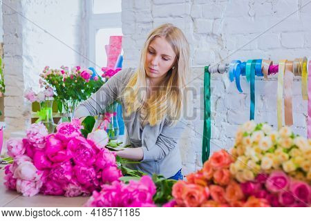 Professional Woman Floral Artist, Florist Making Beautiful Fresh Peony Bouquet, Floral Composition I