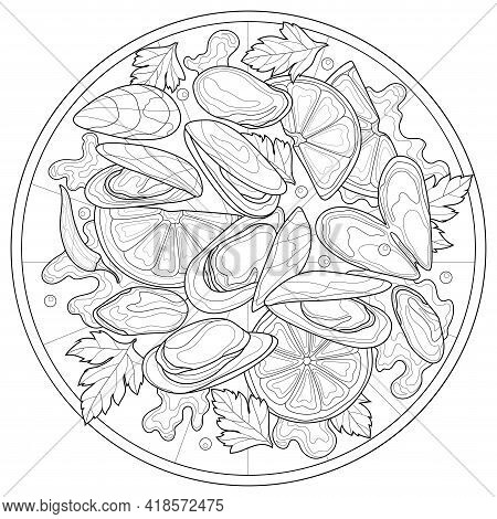 Mussels With Lemon And Parsley On A Plate.coloring Book Antistress For Children And Adults.