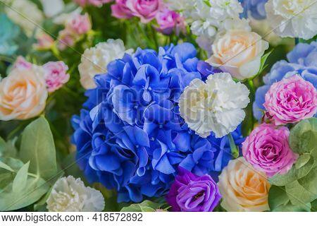 Colorful Beautiful Flowers Bouquet At Studio, Flower Shop - Close Up Top View. Floristry, Romantic,