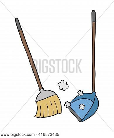 Cartoon Vector Illustration Of Broom And Dustpan, Sweep The Floor. Colored And Black Outlines.