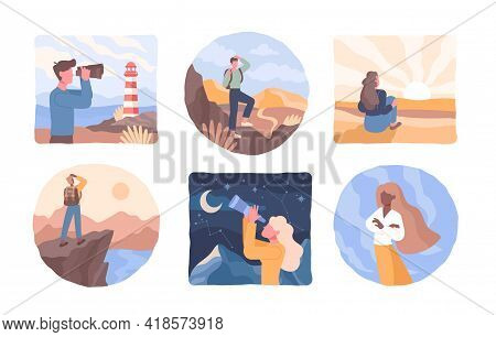People Look Into Future. Men And Women Stand On Edge Of Cliff, Top Of Mountain And Fork In Road With