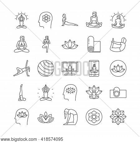 Meditation Relaxation Practice And Yoga Line Icons Collection. Relaxation, Self Knowledge, Inner Pea