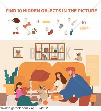 Caucasian Family Taking Care Of The Siamese Cat. Find 10 Hidden Objects In The Picture. Puzzle Hidde