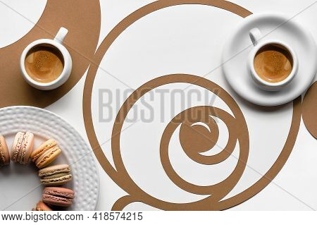 Coffee Cups, Macarons, Fibonacci Sequence Circles. Espresso, Tasty Perfection. Golden Ratio Concept,