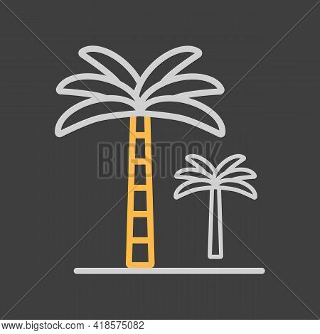 Palm Tree Vector Icon On Dark Background. Nature Sign. Graph Symbol For Travel And Tourism Web Site