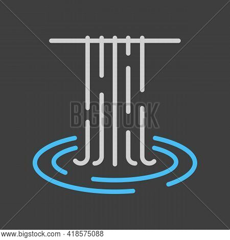 Waterfall Of Natural Vacation Vector Icon On Dark Background. Nature Sign. Graph Symbol For Travel A