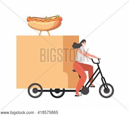 Delivery Woman In Medical Face Mask Riding On Bike And Delivers Hot Dogs Vector Flat Illustration Is