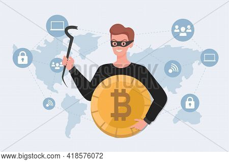 Thief In Mask Holding Stolen Bitcoin Vector Flat Illustration On Background Of World Map. Cyber Crim