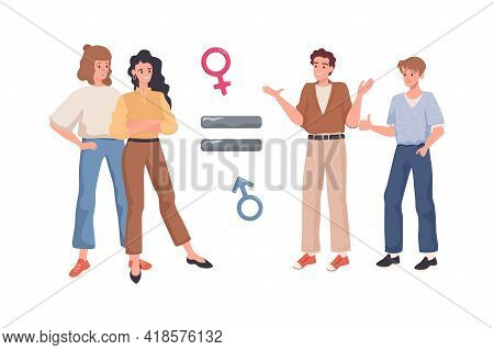 Gender Equality Vector Flat Concept. Equal Sign Between Happy Smiling Men And Women. Equal Rights Fo