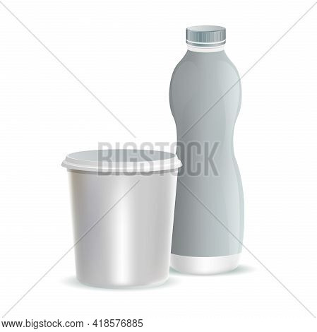 Two White Plastic Packaging For Milk, Yogurt, Dessert, Or Cream Vector Realistic Illustrations Isola