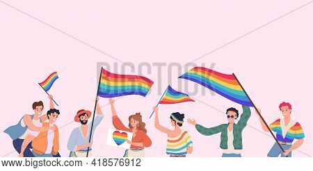 People Taking Part In Lgbt Pride Vector Flat Illustration. Happy Male And Female Characters Holding
