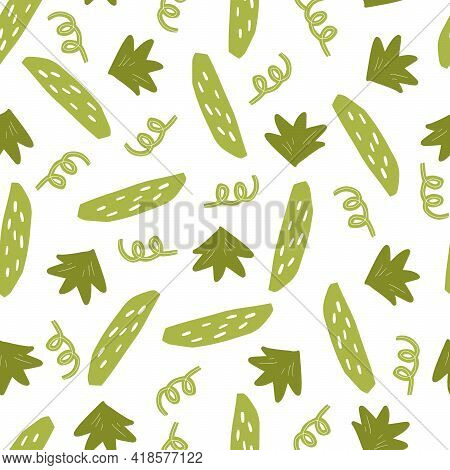 Hand Drawn Seamless Pattern Of Simple Green Cucumber. Doodle Sketch Style. Cucumber Pattern For Food