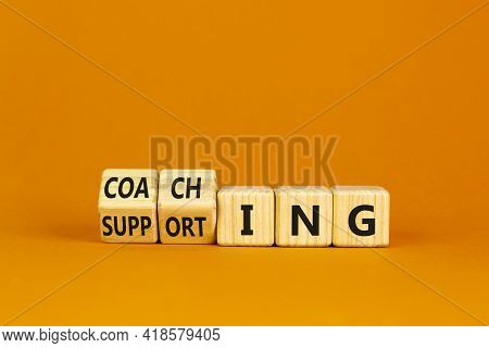 Coaching Or Supporting Leadership Style Symbol. Turned Cubes And Changed Words 'supporting' To 'coac