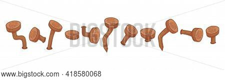 Old Rust Bent Nails Vector, Cartoon Corrosion Pin Icon. Carpentry Concept Isolated On White Backgrou