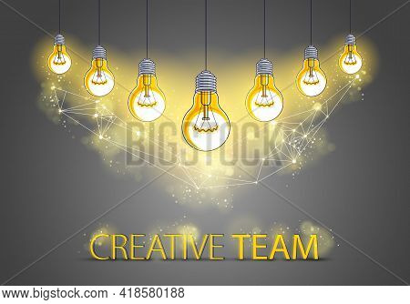 Creative Team Concept, Group Of Five Shining Light Bulbs Represents Idea Of Creative People Teamwork