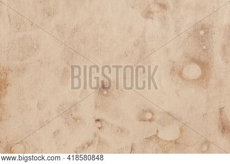 Aged Sheet Of Paper With Rounded Spots, Noise And Graininess. Old Brown Blank Page
