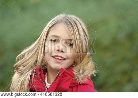 Child In Red Coat Enjoy Idyllic Autumn Day