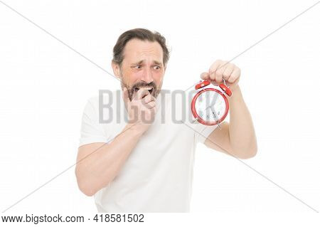 Time Management And Discipline. Punctuality And Responsibility. Man With Clock On White Background.