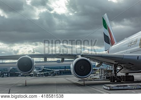 Prague, Czech Republic, 2.09.2020 - Wing And Engines Emirates Airbus A-380-800. Largest Passenger Ai