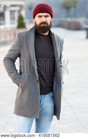 Lumbersexual Style. Hipster Outfit And Hat Accessory. Stylish Casual Outfit Spring Season. Menswear
