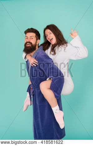 We Are Family. Perfect Morning. Happy Woman And Man In Robe. Having Fun. Happy Family. Romantinc Cou