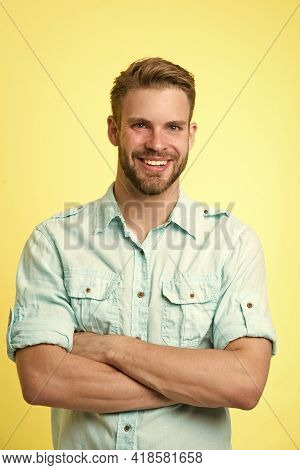 Cheerful Consultant. Man Smiling Face Posing Confidently With Folded Arms Yellow Background. Man Sho