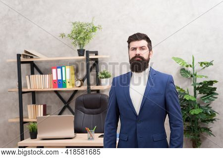 Good Boss Is Good Leader. Man Bearded Hipster Boss Looking At You With Attention. Boss Standing In O