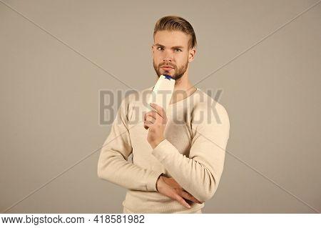 I Love This Shampoo. Man Stylish Hairstyle Holds Bottle Shampoo Hygienic Product Grey Background. Be