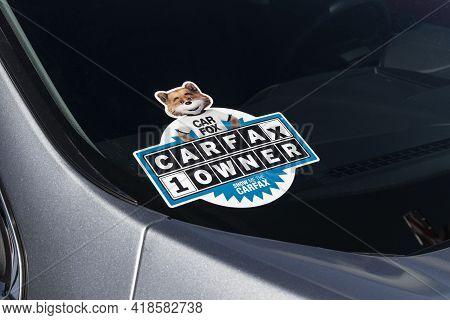 Plainfield - Circa April 2021: Carfax Sticker On A Used Pre-owned Vehicle. Carfax Provide Vehicle Re