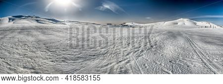 Scenic Panoramic Winter Landscape With Snow Covered Mountains, Located In Campocatino, Touristic Ski