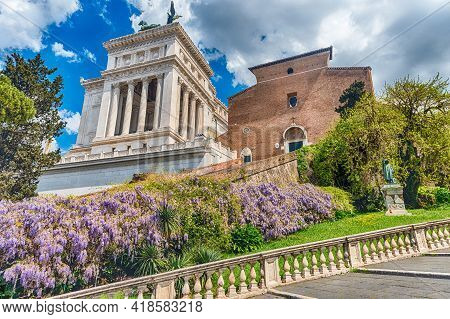 Facade Of The Basilica Of St. Mary Of The Altar Of Heaven, Rome, Italy