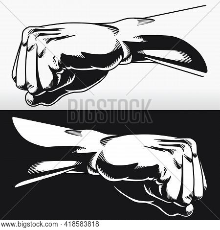 Silhouette Fist Clenched Fighter Punch Stencil Bodybuilder Stencil