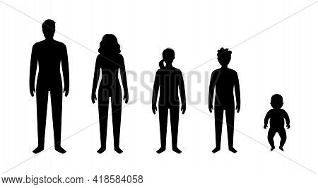 Outline Silhouette Of Baby, Girl, Boy, Adult Man And Woman. Different Ages People. Black Icons On Wh
