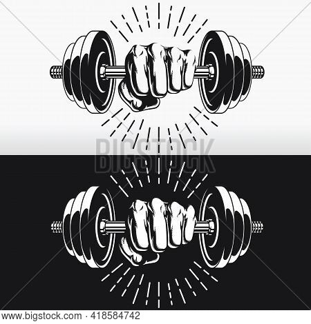 Silhouette Fist Gripping Bodybuilding Dumbbells Stencil Vector Drawing